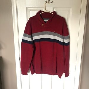 Men's Tommy Hilfiger Red Shawl Collar Sweater